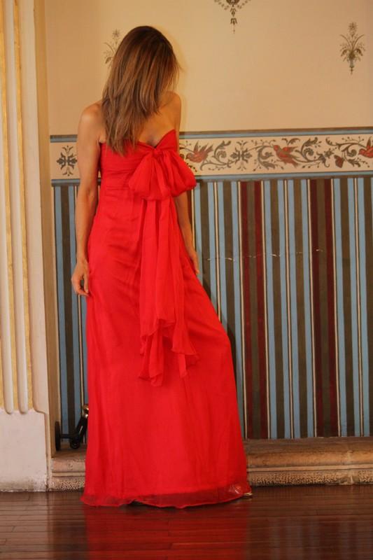vestidos de gasa roja